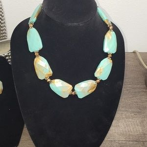 Turquoise and Gold Statement Necklace and Earrings